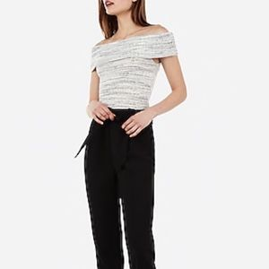 Express Ribbed Off The Shoulder Tee, Heather Grey